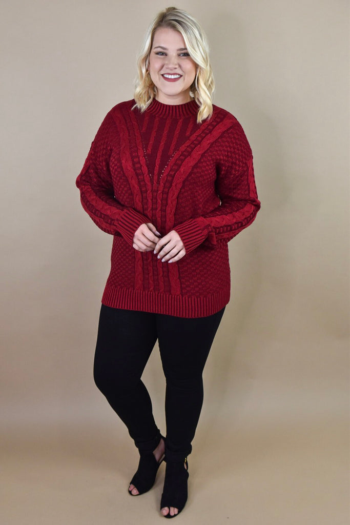 By The Fire Red Cable Knit Sweater