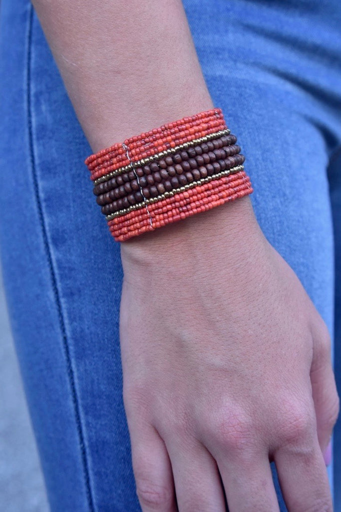 Mini Wood Center Beaded Cuff- Red