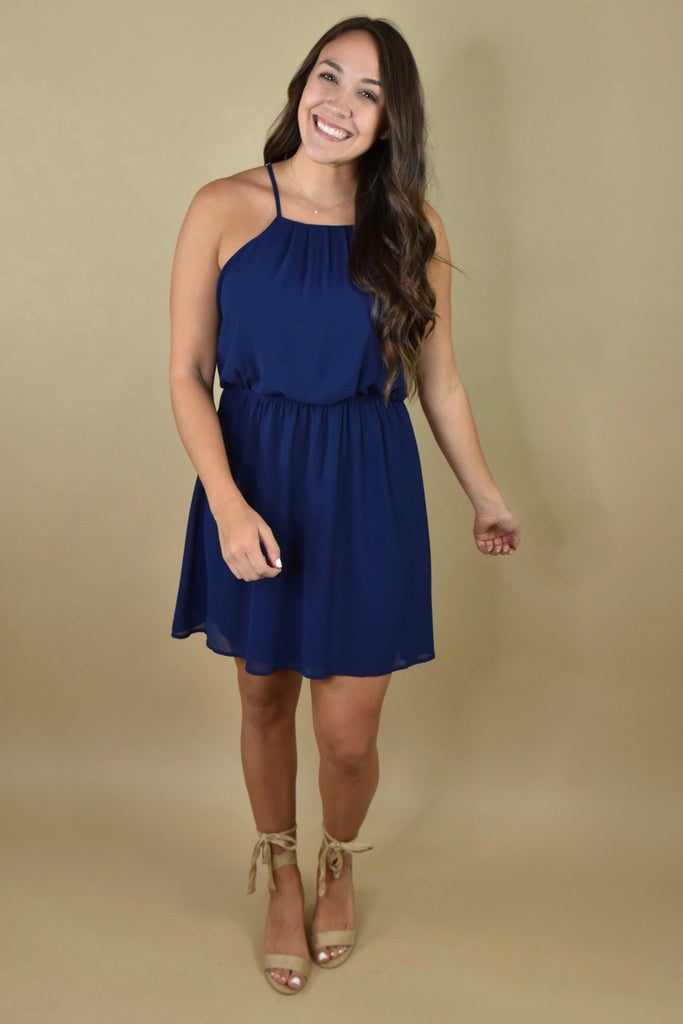 So In Love Navy Chiffon Halter Dress