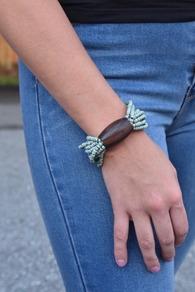 Stretchy Barrel Bracelet- Blue