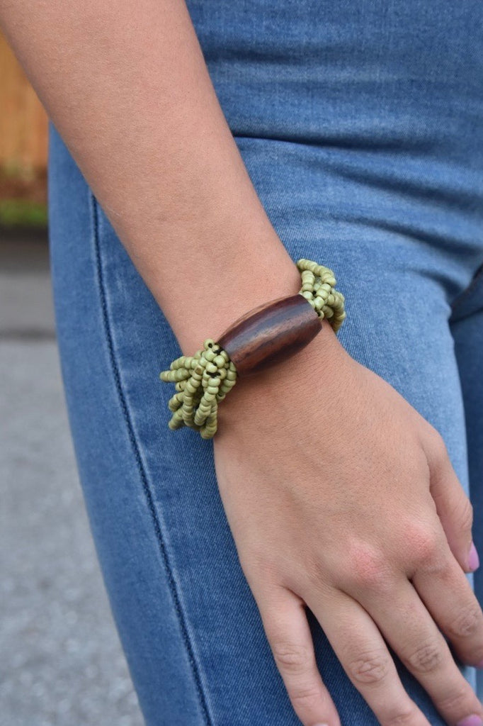 Stretchy Barrel Bracelet- Green