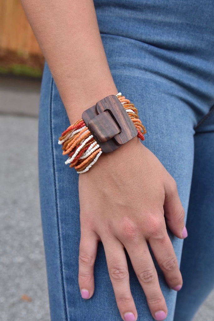 The Buckle Cuff- Red & Orange