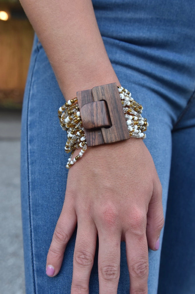 The Buckle Cuff- White & Bronze