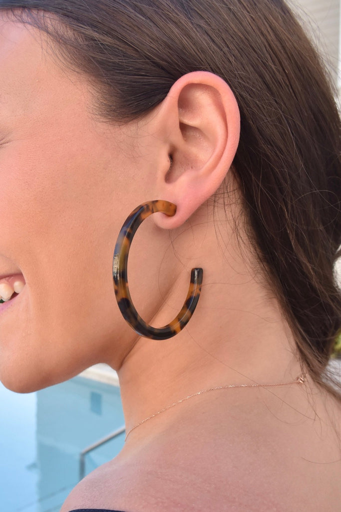 Large Acetate Hoop Earrings- Brown