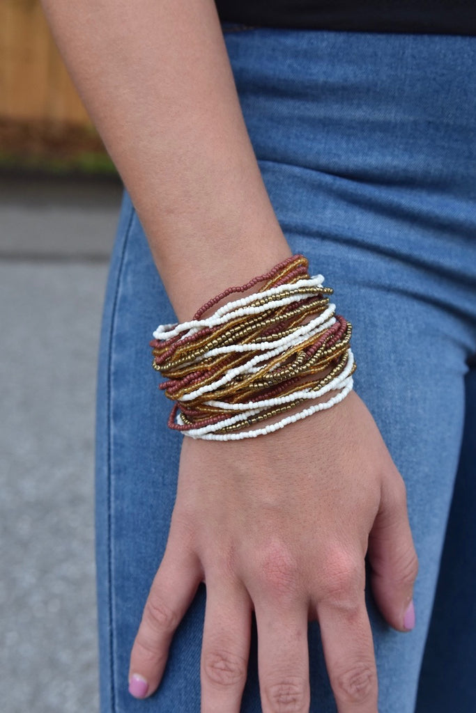 The Buckle Cuff- Maroon, Gold & White