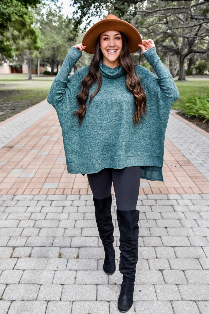 Snow Day Poncho Top- Evergreen
