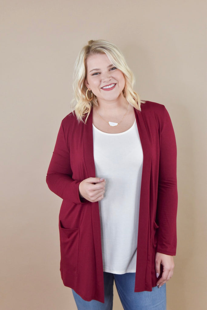 Girlfriend Pocket Cardigan- Cabernet