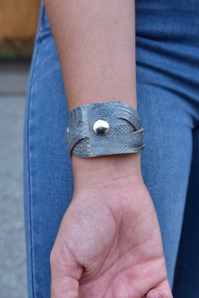 Grey Leather Twist Cuff