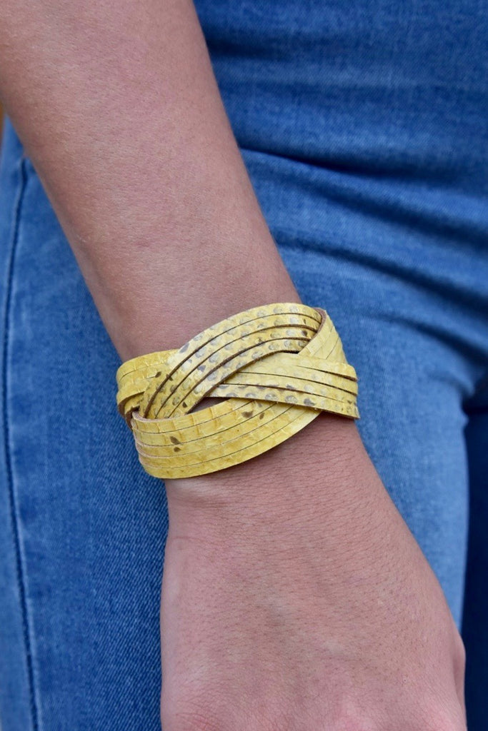Yellow Leather Twist Cuff