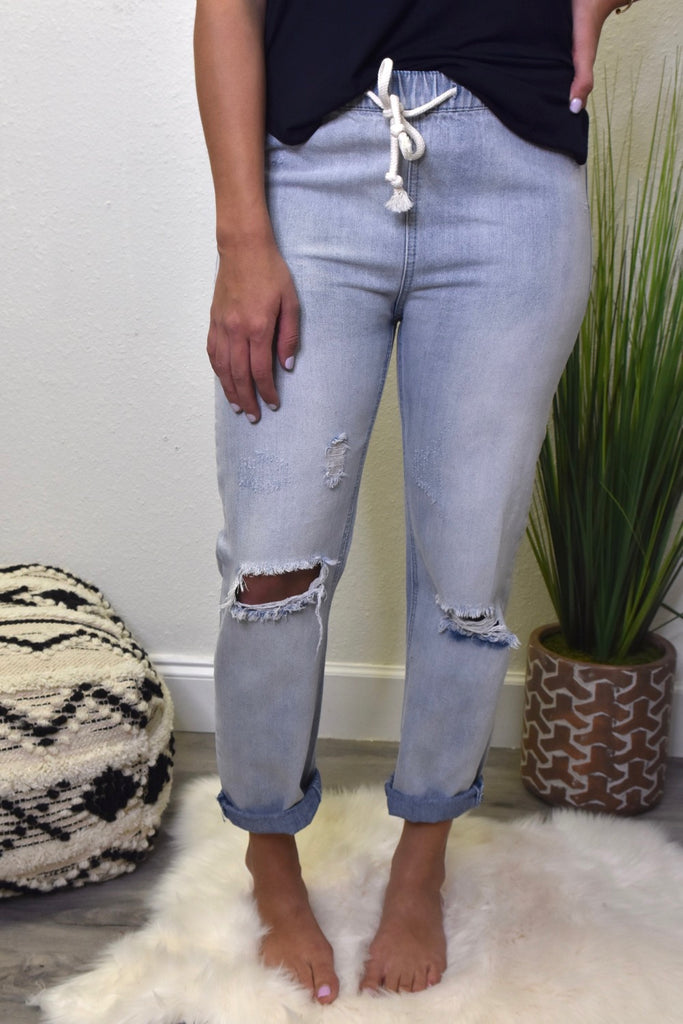 Elastic Light Wash Denim Pant