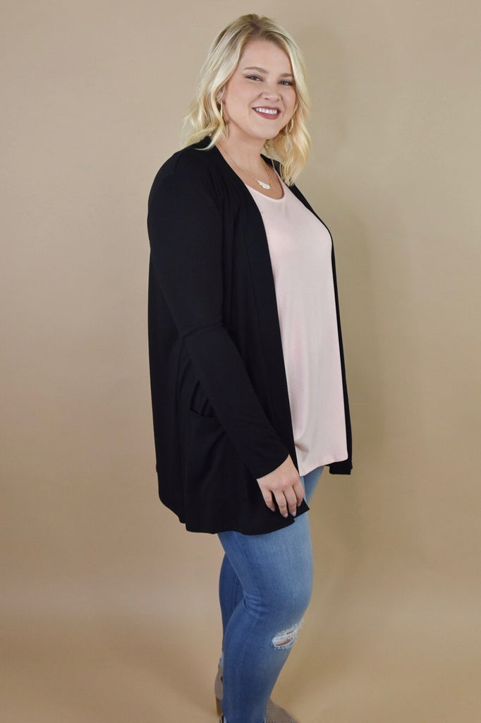 Girlfriend Pocket Cardigan- Black