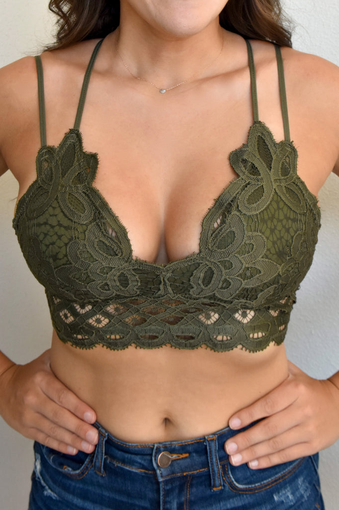 The Lace Bralette- Dark Olive