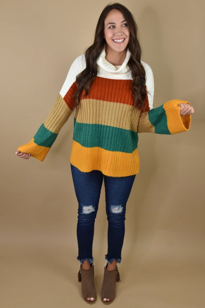 Warm Her Up Striped Sweater