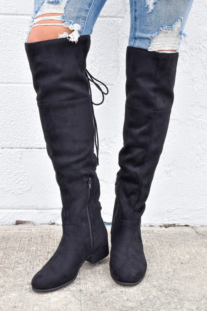 Sasha Lace-up Boots - Black