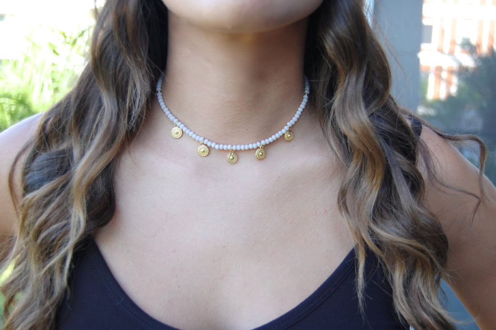 LOVE'S AFFECT Gemstone Beaded Statement Choker- BLUSH