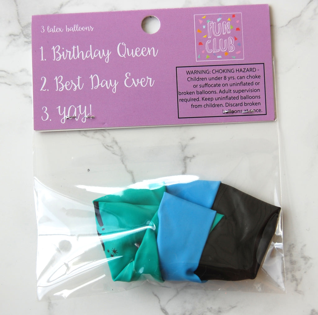 Birthday Queen- 3 Pack Latex Balloons