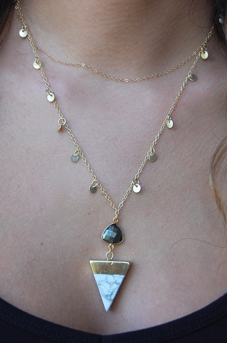 LOVE'S AFFECT Howlite Triangle Layering Necklace