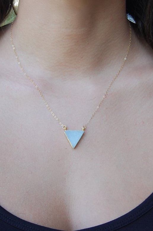 LOVE'S AFFECT Triangle White Druzy