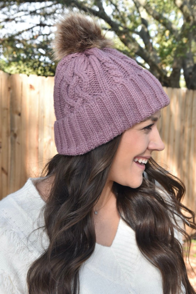 Cable Knit Winter Beanie- Mauve