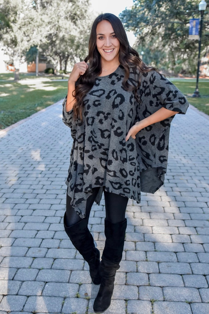 Untamed Leopard Poncho Top