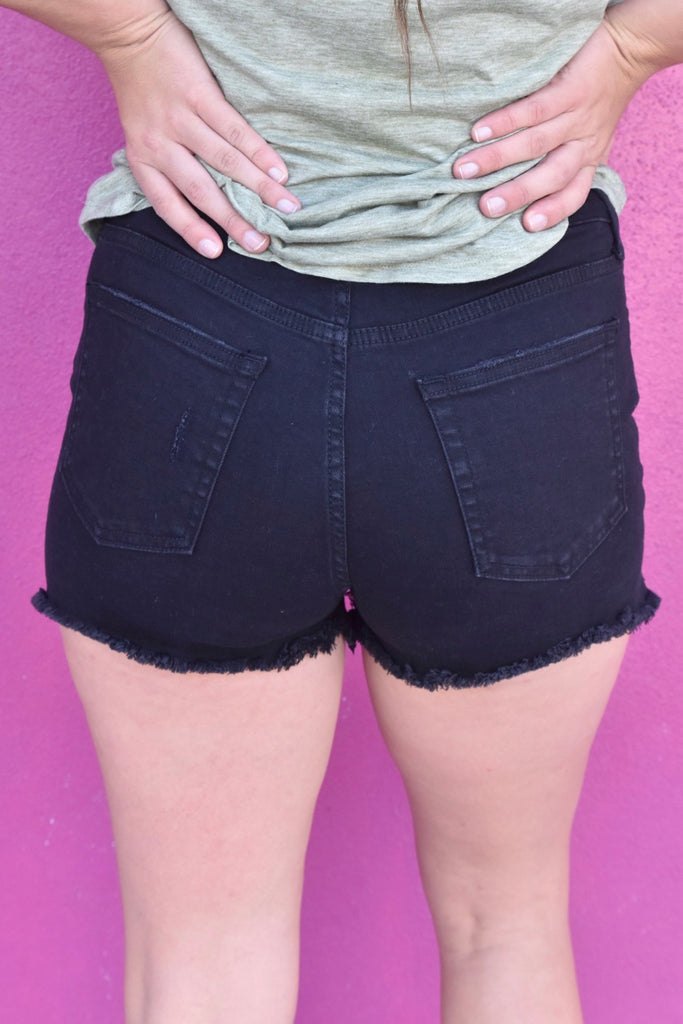 Black Peek a Boo Short- High Rise