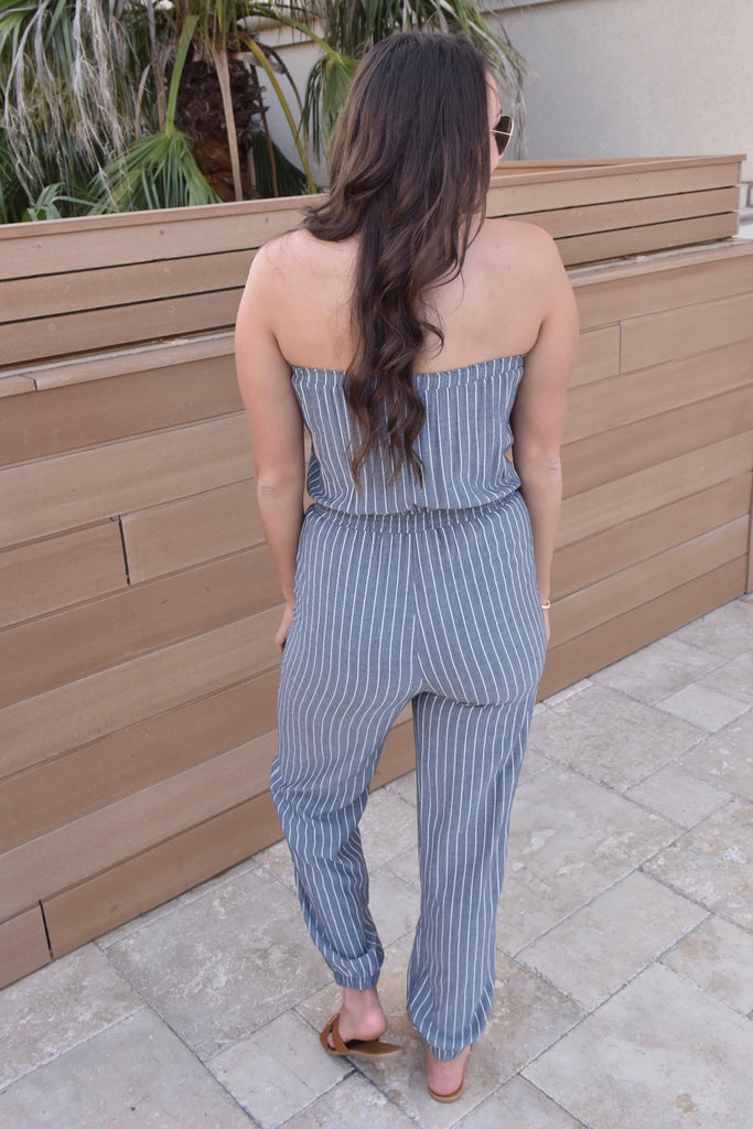 Confessions Striped Grey Jumpsuit