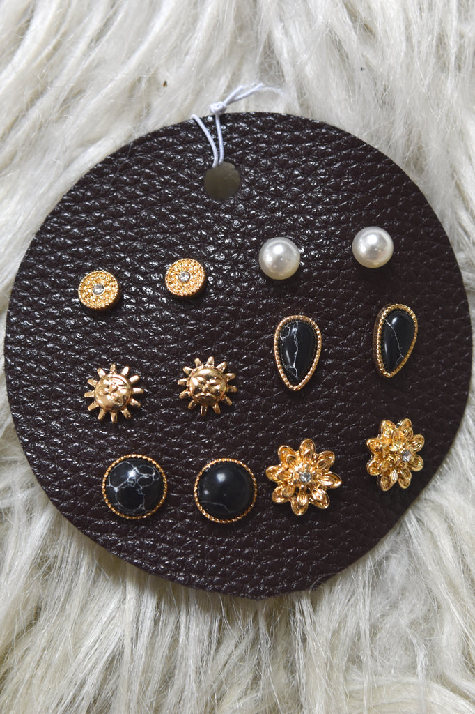 Six Pair Earring Bundle- Black Marble
