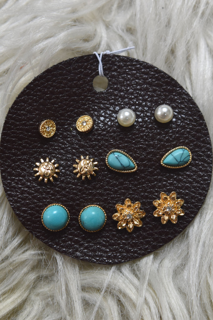 Six Pair Earring Bundle- Turquoise/ Gold