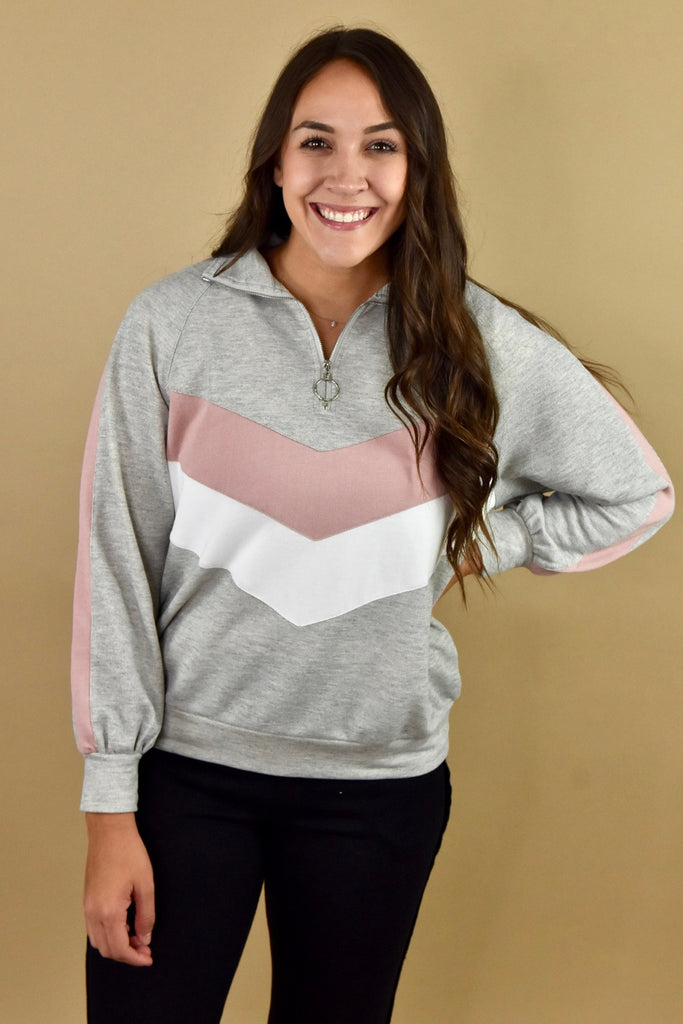Colorblock Quarter Zip Pullover- Grey
