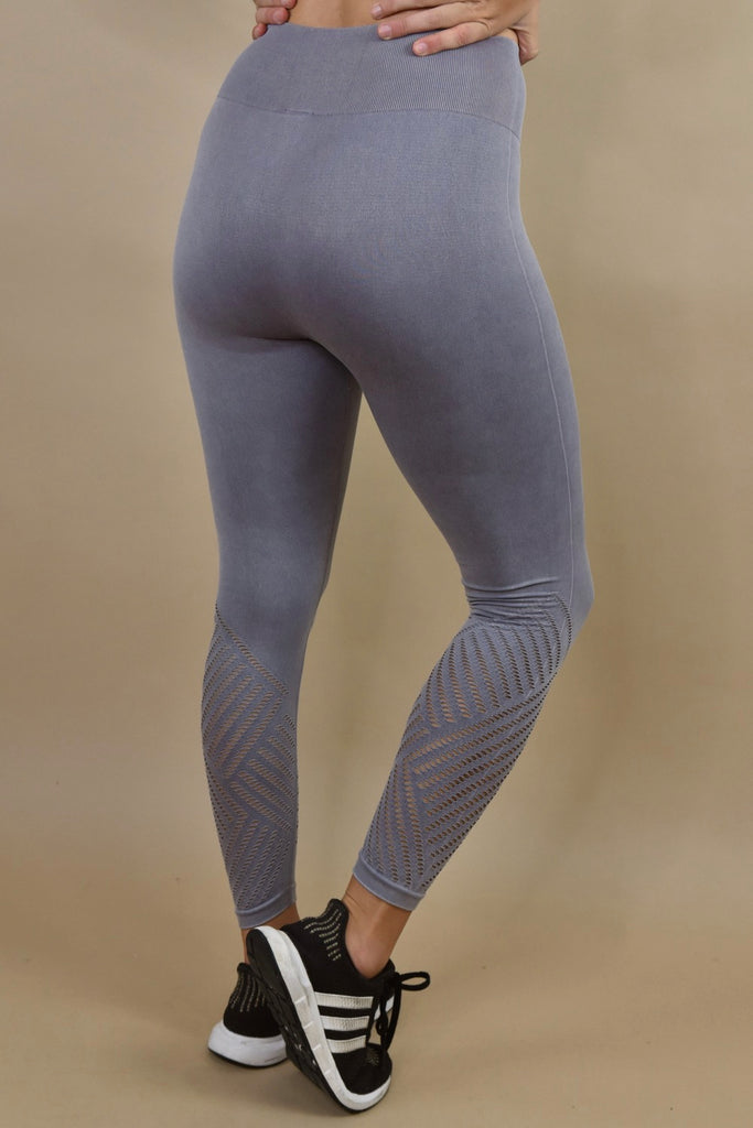 Grey-Lilac Cutout Leggings