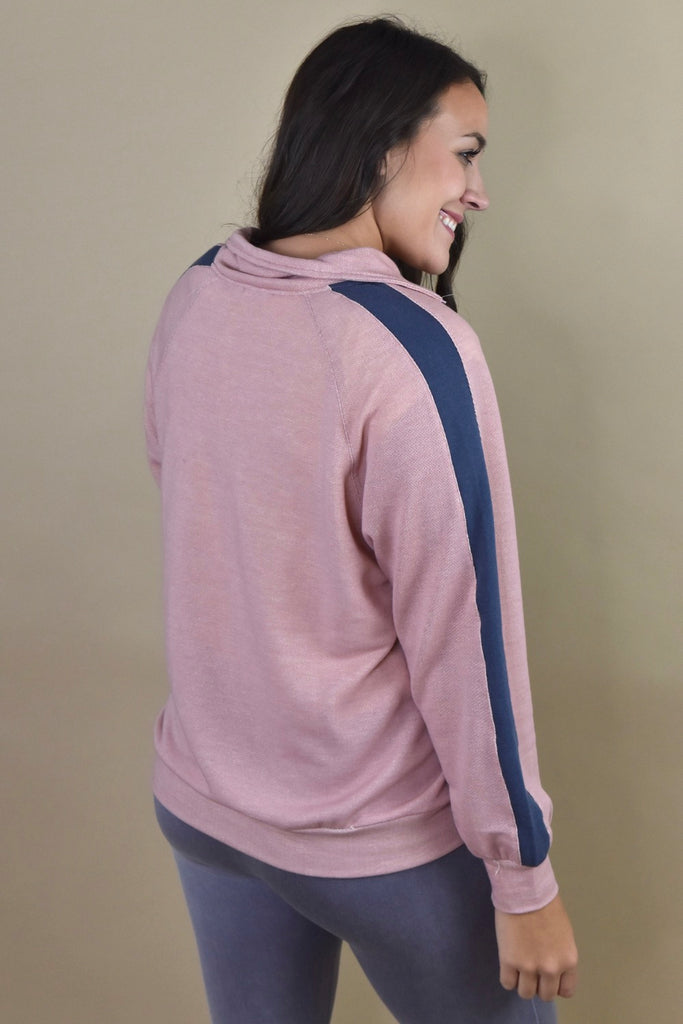 Colorblock Quarter Zip Pullover- Rose
