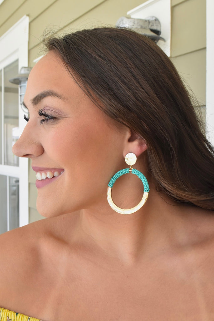 Bubbly Gold & Turquoise Hoops