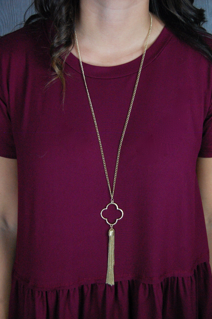 Gold Clover Long Necklace with Tassel