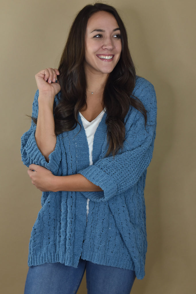 Fireside Cable Knit Cardigan- Dusty Blue