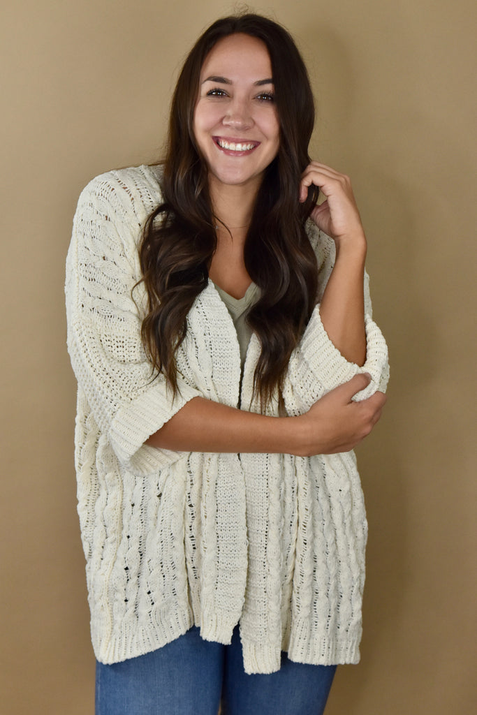 Fireside Cable Knit Cardigan- Cream
