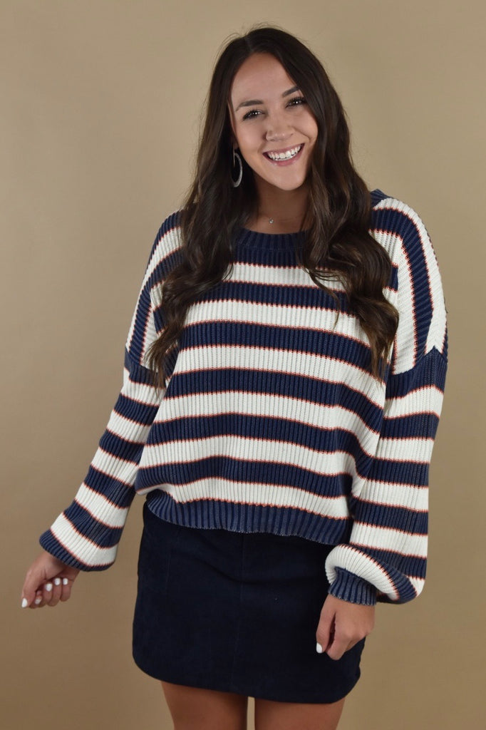 Charlie Striped Sweater- Navy