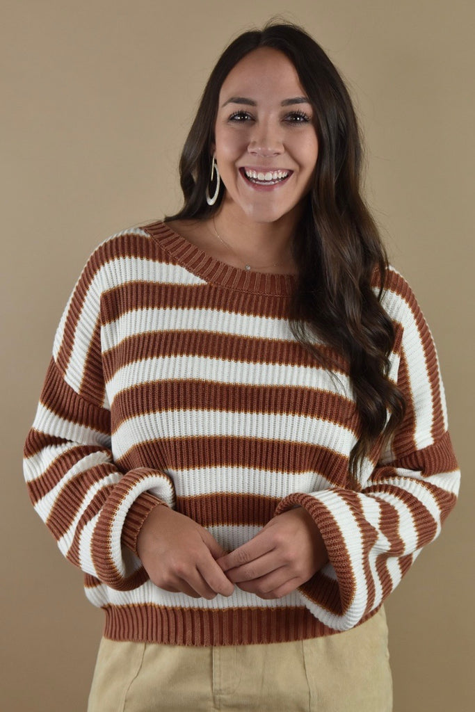 Charlie Striped Sweater- Rust