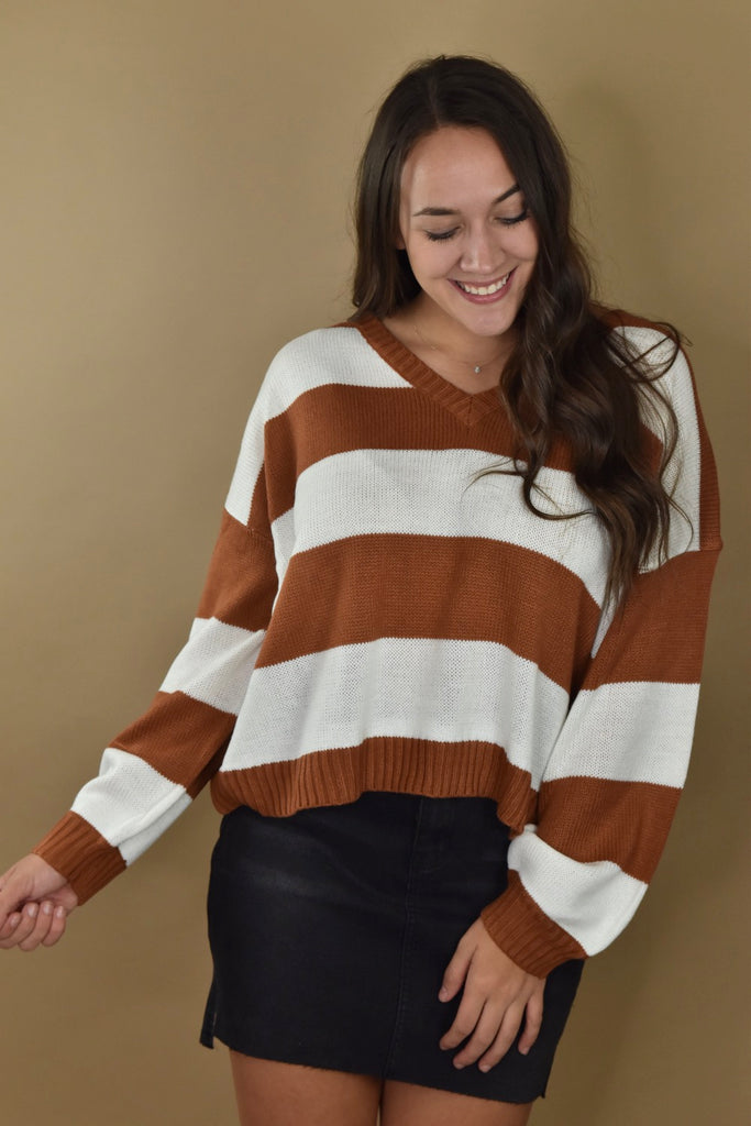 Lightweight Stripe Sweater- Rust