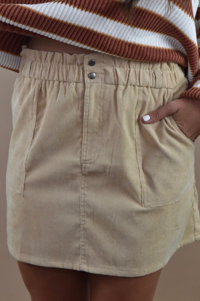 Classic Corduroy Skirt with Pockets- Beige