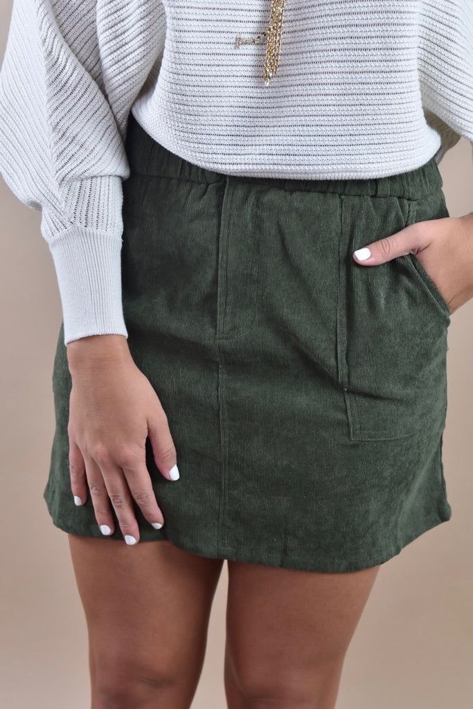 Classic Corduroy Skirt with Pockets- Olive
