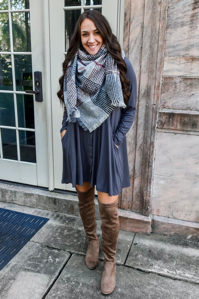 Bundled Up Grey Blanket Scarf