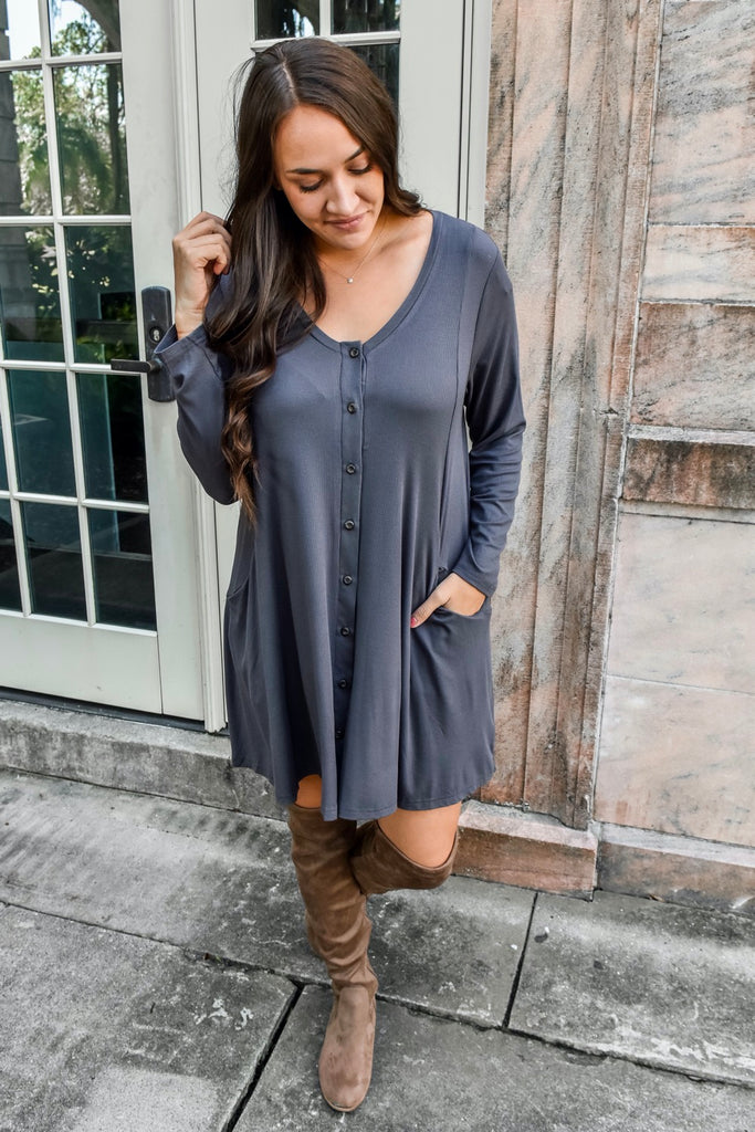 Gratitude & Grace Ribbed Button Up Dress- Ash