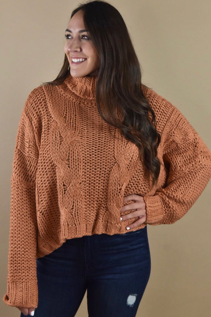 Free Spirit Knit Turtleneck Sweater- Rust