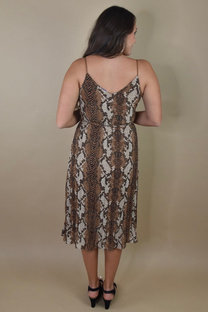 Snake in Sepia Pleated Midi Dress