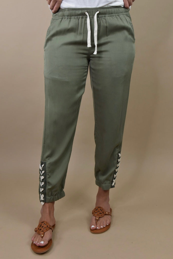 Criss Cross Military Green Joggers