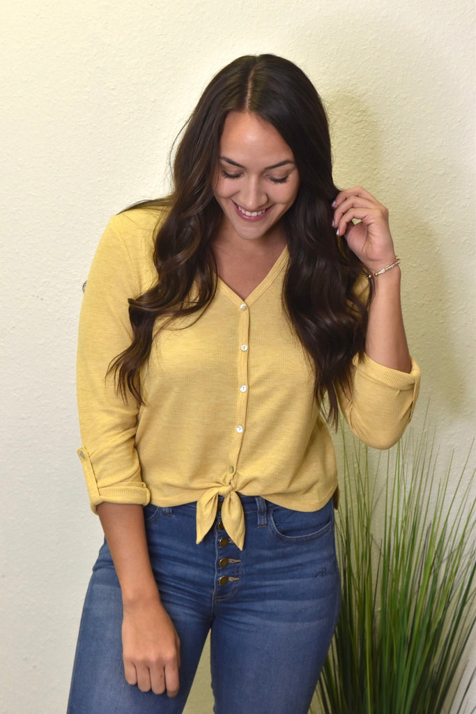 Cropped Thermal Button Down- Yellow