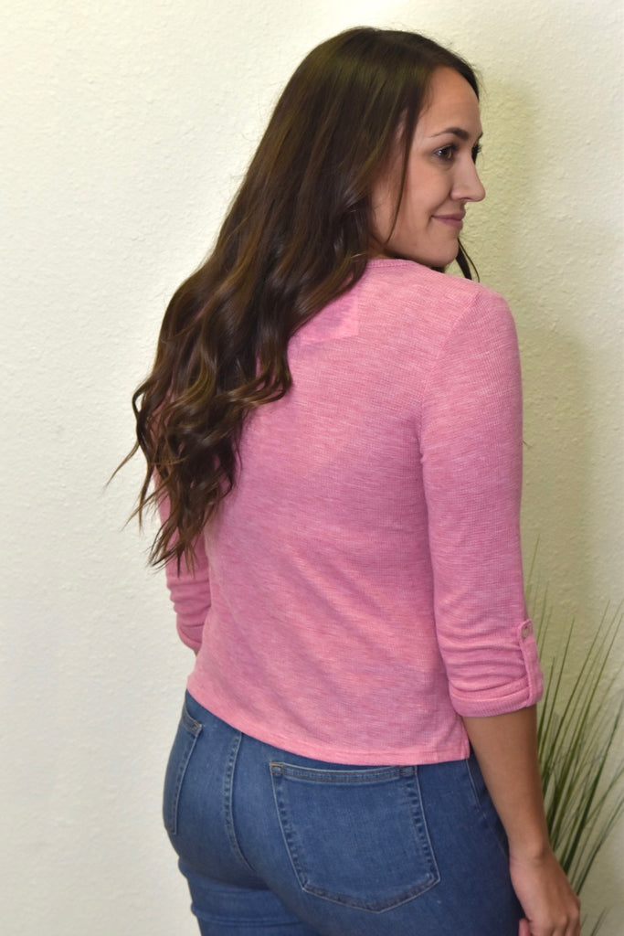 Cropped Thermal Button Down- Pink