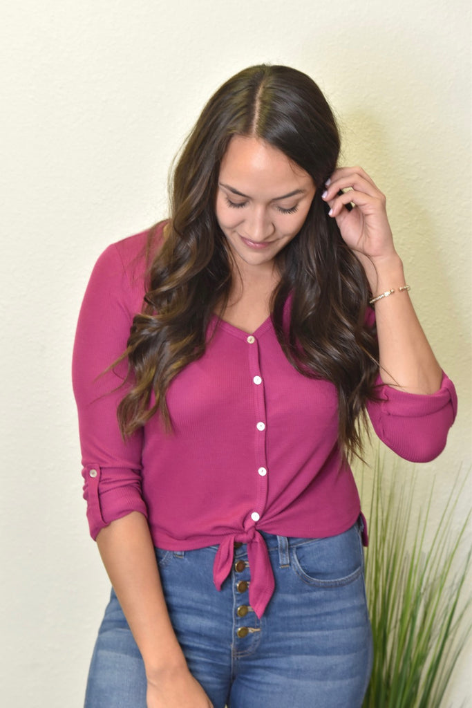 Cropped Thermal Button Down- Magenta