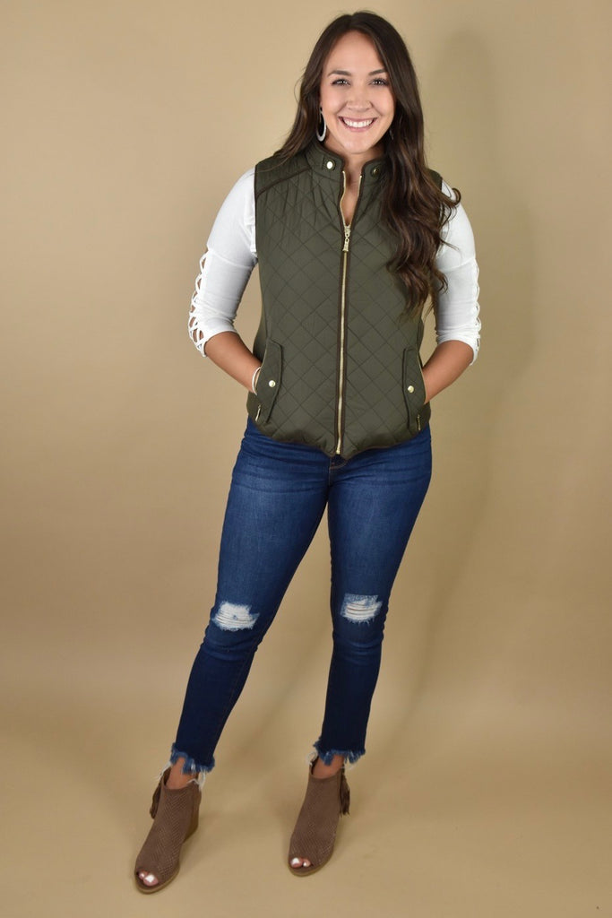 Classic Olive Quilted Vest