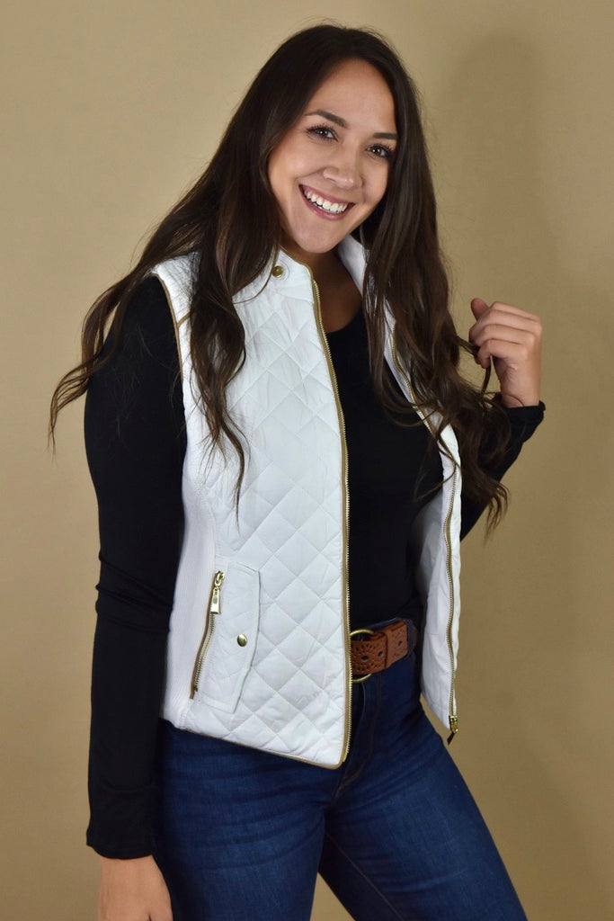 Classic White Quilted Vest